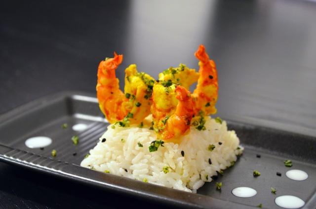 Crevettes riz coco vue d'ensemble